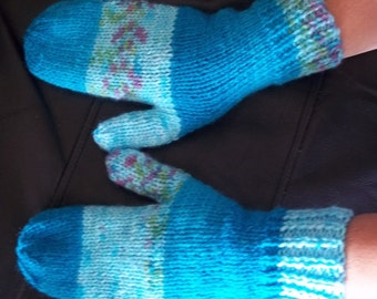 Hand Knitted Mittens in Aran Weight Multi Colour Turquoises