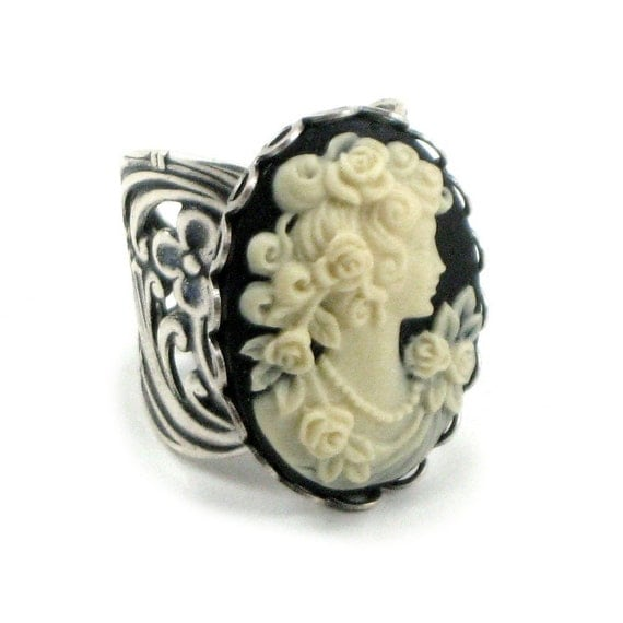 Neo Victorian Cameo Ring - Rose Maiden - in Cream on Black with Antiqued Sterling Silver Plated Band - By Ghostlove