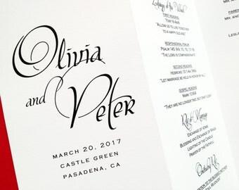 Wedding Programs, Trifold Wedding Ceremony Programs, Order of Service, Folded Wedding Program