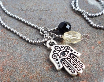 Hand of Hamsa Charm and Gemstone Necklace, Citrine, Black Onyx, Stainless Steel Ball Chain, TierraCast
