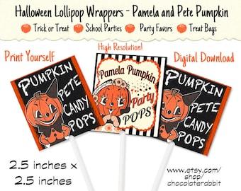 Pumpkin Treat Lollipop Candy Wrappers Halloween Digital Download Printable Label Tag Vintage Clip Art Scrapbook Collage Sheet