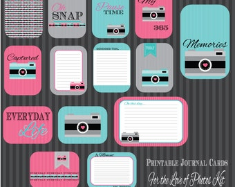 Photo Love Journal cards. Perfect for Project Life. Instant Download