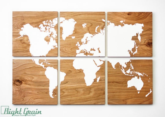 Large Wood Grain World Map Print Collection Custom By