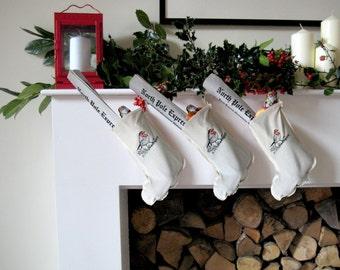 Mini Christmas Stocking with Robin Print