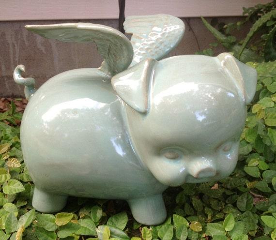Piggy Bank Flying Pig Ceramic Bank When Pigs Fly Sea Foam