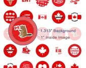 Oh Canada Day Digital Collage Sheet - 1.313 Inch Circles for 1 Inch Buttons - Instant Download