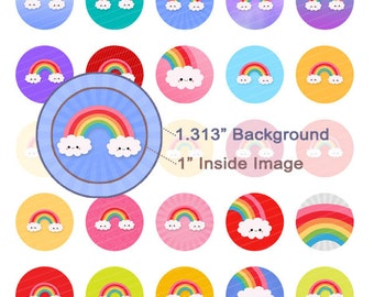 Kawaii Rainbows Digital Collage Sheet - 1.313 Inch Circles for 1 Inch Buttons - Instant Download