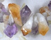Citrine & Amethyst Points Beads Medium Top Drilled Natural Brazilian Rough Faceted (5398)