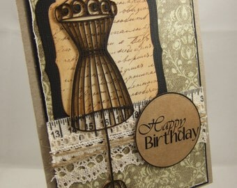 Vintage ManNeQuIN / MaNiKin / DreSs FoRm Happy Birthday Card
