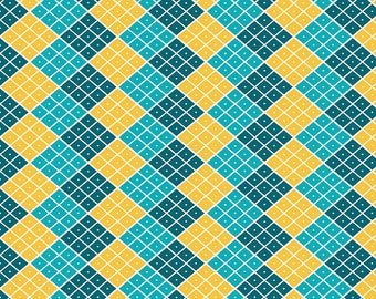 Argyle fabric by the yard, half yard fabric or argyle fat quarter, blue and gold argyle cotton fabric, quilting fabric,  Indie Chic fabric