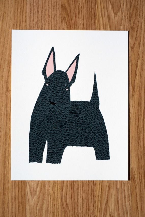 Scotty Dog Illustration, Scottish Terrier Print, Dog Print, Dog Illustration, Dog Portrait, Pet Portrait, Dog Lover, Personalized Pet Print