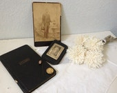 Vintage Victorian Mourning Pins - Victorian Record Book - Cabinet Card - Vintage Wallet - Free Shipping