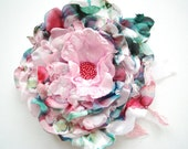 Pink Teal Green Rose Satin Flower, Flower for Sash, Weddings Bridal Accessories, Hair Flower, Bridesmaids Hair Clip, Flower Girl