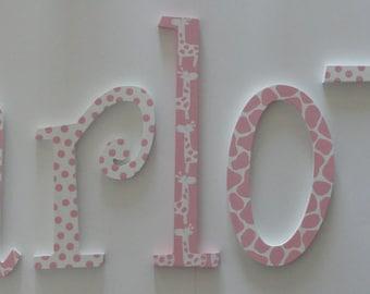 Sweet Pink Giraffe Wall Letters