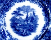 Vintage Flow Blue Plate Non Pareil Country Castle Burgess and Leigh 1890s