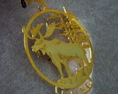 Vintage Christmas Ornament Maine Moose Souvenir Metal 1980s