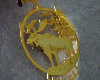 Vintage Christmas Ornament Maine Moose Souvenir Metal 1980s
