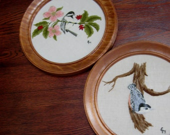 Vintage Framed Crewel Embroidery Wall Hanging Birds Nuthatch Chickadee Birds Set of Two 1970s