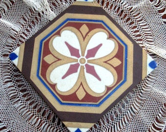 Vintage Antique Tile Minton Stoke Upon Trent Encaustic England 1800s