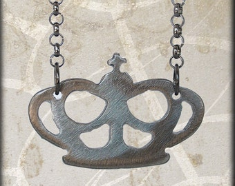 Metal Crown Charm on Gunmetal Chain Handmade by WATTO Distinctive Metal Wear
