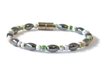 Black/White Magnetic Hematite Health Bracelet, Pain Relief Jewelry