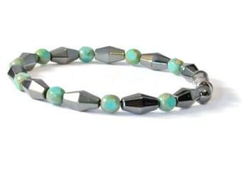 Turquoise/Black Magnetic Hematite Therapy Bracelet, Arthritis Jewelry, Holistic Jewelry