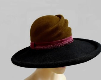 Elise, Velour Fur Felt Hat, in Bronze and Black