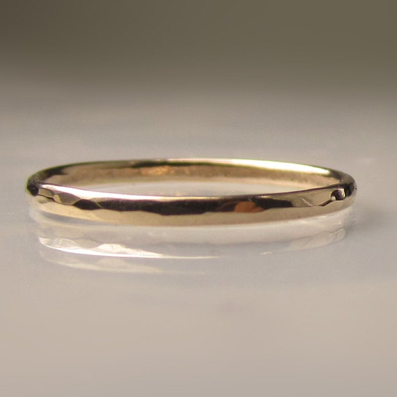 Thin Womens Gold Hammered Wedding Band 15mm Recycled