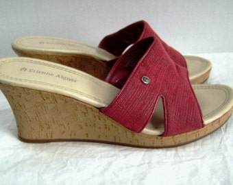 Vintage Etienne Aigner Wedge Cork Red Burlap Shoes, Casual Chic Boho, Comfort, Stylish Jean Accessory, Summer Sandles, Beach Party