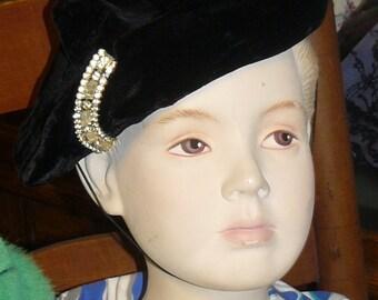 Antique Black VELVET HAT Gorgeous Rhinestone Clip