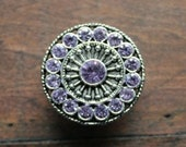 Crystal Drawer Knobs - Furniture Knobs with Violet Glass Crystals (MK113) in Silver