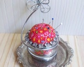 Vintage Silverplate/ Handmade Pin Cushion Duo