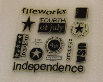 CTMH Let Freedom Ring (B1224) Clear Acrylic Stamp Set flowers USA