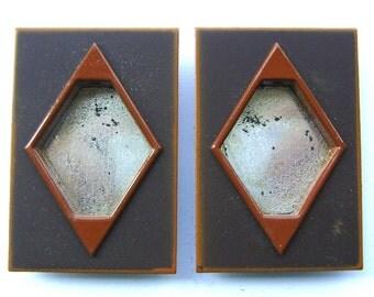 Japanese Pocket Door Pulls - Vintage Door Pulls - Sliding Door Pulls - Set of 2 Rectangles Brown Orange (A53) Small Size