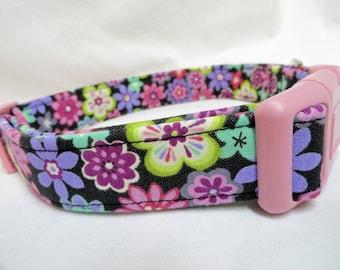 Purple Flowers Dog Collar Pink Girl