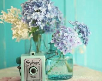 Hydrangea photograph,shabby chic decor, Fine art print,pastel photograph, floral print,aqua,blue,vintage camera,mason jar,square print