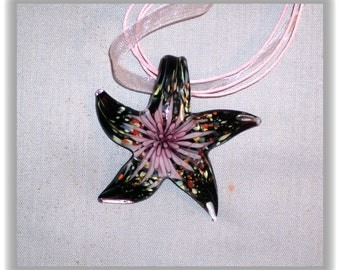 3D Glass Starfish pendant on pink necklace