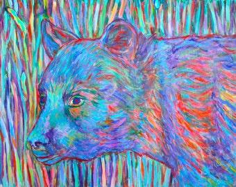 Bear Beauty Art 16x20 Expressionist Wildlife Painting by Award Winning Artist Kendall Kessler
