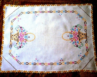 RUNNER Table Dresser Scarf Vintage Hand Embroidered Flowers Baskets Cross Stitch