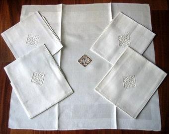 NAPKINS Damask Napkin Set 5 Inset Lace LARGE SLICK Gorgeous Fancy White Linen