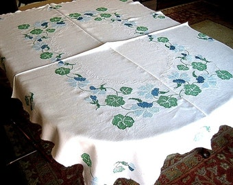 Embroidered Vintage TABLECLOTH Gorgeous LINEN Blue Green Leaves Fine Embroidery