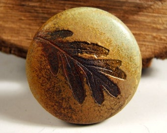 "Ceramic  woodland Natural Cabinet Knob Drawer Pull in ""Change of Seasons"" Glaze White Oak Leaf"