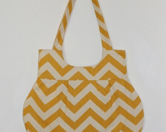 Yellow and Vanilla Cream Chevron Shoulder Bag or Purse