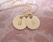 Gold Initial Necklace, Disc Necklace, Mom Necklace, Dainty initial charms - Photo NOT actual size