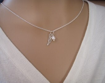 Angel wing necklace - Choker necklace - Tiny angel wing necklace with pearl or birthstone crystal - Photo NOT actual size