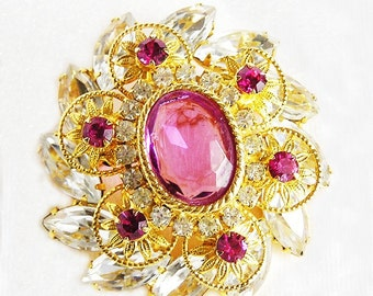 Rose Pink and Clear Brooch