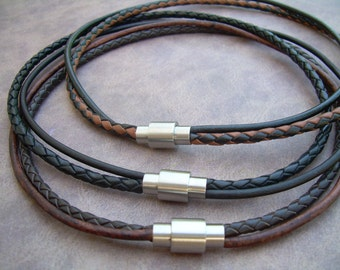 Mens Leather Necklace, Stainless Steel Magnetic Clasp, Mens Necklace, Mens Jewelry, Leather Necklace