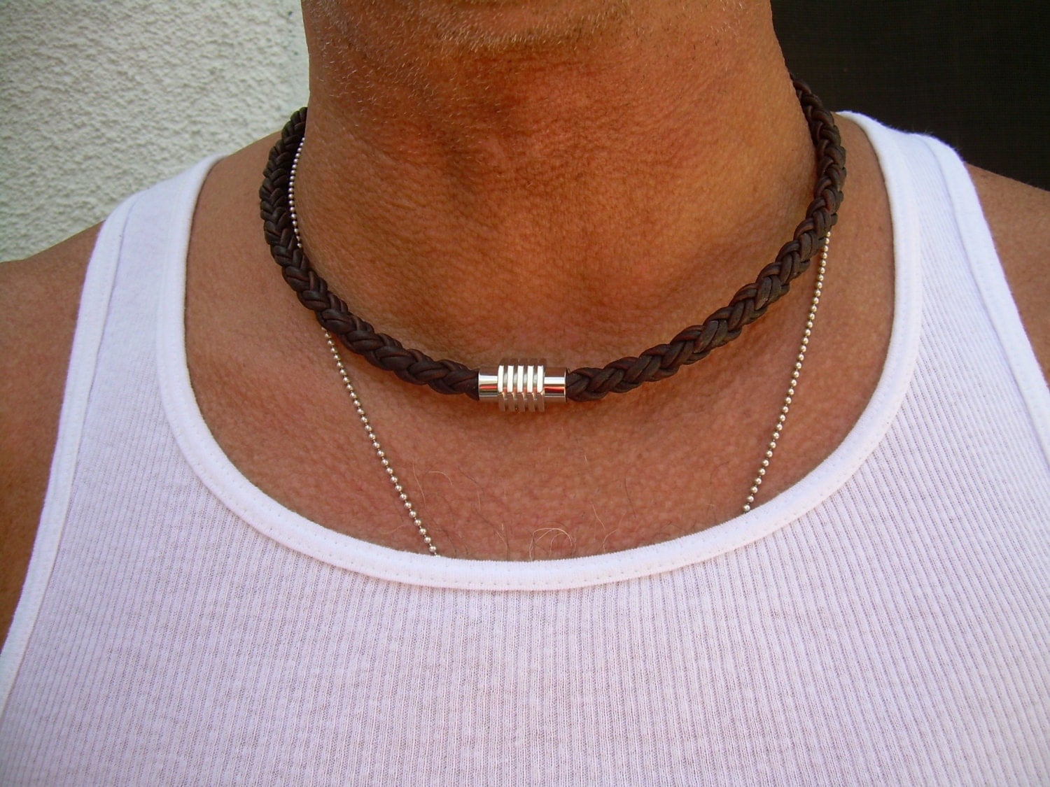 Mens Leather Necklace Mens Necklace Mens Jewelry Stainless