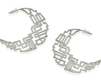 14K White Gold Earrings, 14K Hoop Earrings, Wedding Earrings, Bridal Jewelry, Geometric Gold Earrings,