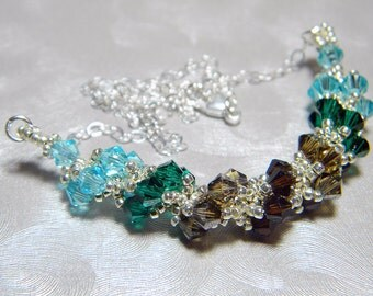"""Taurus Zodiac Lucky Colors Swarovski Crystal Necklace Beadweaving Sterling Silver - """"The Bull"""""""